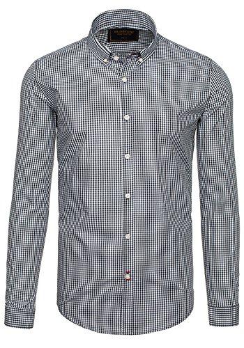 BOLF Langarm Herrenhemd Hemd Figurbetont Freizeit Slim Fit GLO STORY 9660 Schwarz