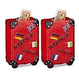 2 x Spardose Urlaub, Koffer, mit Flaggen, Urlaubskasse, Reisekasse, Sparbüchse, Sparbox, HxBxT: 14,5 x 9,5 x 5 cm, rot