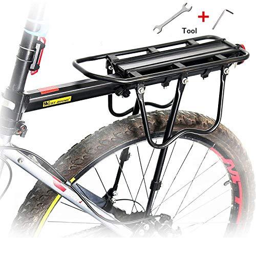 Queta Gepäckträger Mountainbike, Einstellbare Fahrrad Gepäckträger, Aluminiumlegierung rennrad Gepäckträger, Maximalbelastung 100kg mit Reflektor -
