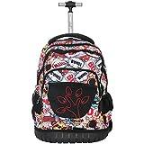 Boys Girls Rolling School Backpacks - Kids Print Pattern Trolley Schoolbag 2 Wheeled