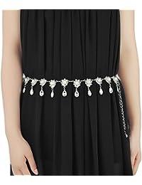 5e60e1590c35 Les femmes de mode argentent la chaîne de ceinture bijoux ceintures  ceintures élastiques pour la robe