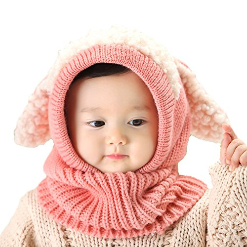 Yimidear Nette Winter Baby Kinder Mädchen Jungen Warme Strick Woollen Coif Hood Kragen Schal Caps (Rosa) (Kragen Cap)
