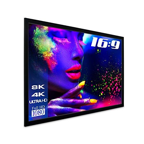 "eSmart Germany MIRALE GRAU | Tageslicht-Rahmenleinwand | 221 x 125 cm (100"") 16:9 | Vollmaskierung | Heimkino Beamer Projektionsleinwand Rahmen Leinwand LCD LED"