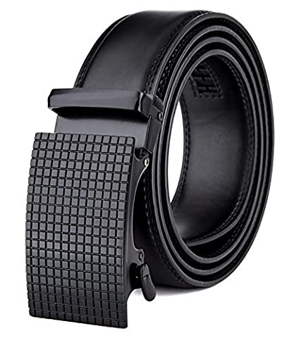 Tonly Monders Men's Dress Leather Belt Automatic Ratchet Buckle, Black, 35mm Wide 110cm 30 32 34 36 38 Inch Waist