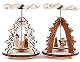 BRUBAKER Set di 2 piramidi Natalizie ad 1 Piano con Albero di Natale - 2 Motivi: Angelo e Presepe - Tavolo in Legno piramidi di 8 x 11,5 cm ciascuna.