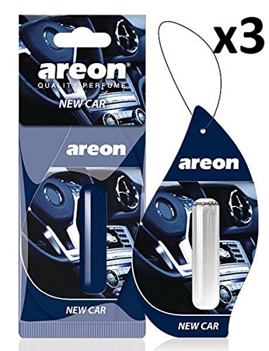 AREON Liquido Ambientador Nuevo Coche Olor New Car Perfume Mini Colgar Colgante Azul Retrovisor Oficina 3D 5ml (Pack de 3)