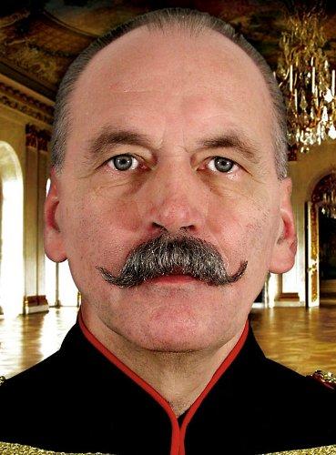 Moustache empereur germain poivre et sel postiche de cinéma Vrais cheveux [ic117 6032]