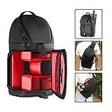 Followsun SLR DSLR Schlinge Kameratasche Rucksack, Reisetasche mit Wasserdichte Regen Abdeckung für Nikon Canon Sony DSLR Kameras und Objektiv, Stativ, Andere Zubehör -40cm x 21cm x 14cm (Rot Innere)