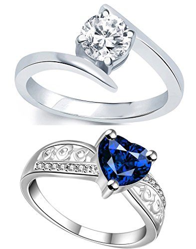 Lady touch Combo Of Blue Heart Silver Diamond Adjustable Rings For Girls And Women's (Set Of 2)_Free Size