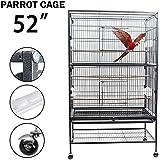 Dawoo Cour extérieure Cage à Oiseaux de 52 Pouces Noir