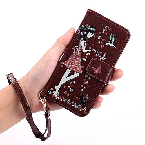 TOYYM Hülle für iPhone 6s Plus 5,5Zoll,iPhone 6 Plus Lederhülle,Leuchtende Mädchen und Katze Muster Design PU Leder Flip Cover Wallet Brieftasche mit Standfunktion Kartenfächer Magnetverschluss,Bookst Braun