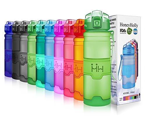 HoneyHolly Sport Trinkflasche - 17oz / 500ml - BPA frei dicht und umweltfreundlich - Für Gym, Laufen, Yoga, Camping, Outdoor, Männer, Frauen & Kinder - One Handed Open & Tritan Trinkflaschen aus Kunststoff mit Filter (0.5 Liter, Matte Erbsengrün)