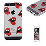 For iPhone 5 5S SE Case 4inch Cover [with Free Screen Protector], Funyye Fashion lovely Lightweight Ultra Slim Anti Scratch Transparent Soft Gel Silicone TPU Bumper Protective Case Cover Shell for iPhone 5/5S/SE-Red Lips