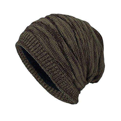 Yvelands Männer Winter Outdoor Wolle Stricken warme Mütze Dicke weiche Beanie Ski Caps(Grün,One Size)