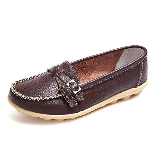 NEOKER Damen Loafers Schuhe Mokassins Plateau Leder Slipper Halbschuhe Casual Sneaker Braun 38