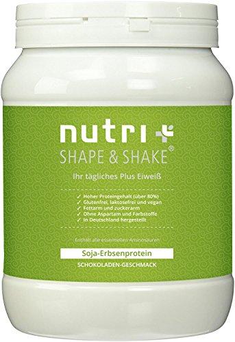Nutri-Plus Shape & Shake Glutenfrei-Vegan (Soja-Erbsenprotein) Schokolade 500g - Glutenfreies Protein ohne Aspartam, Milcheiweiß & Laktose (Protein-pulver, Zucker)