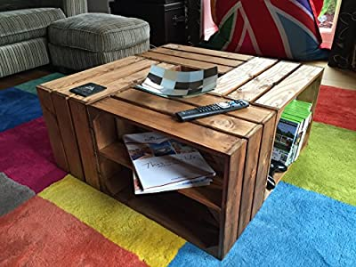 Crate Coffee Table with Shelves in Medium Brown