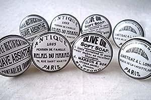 Lot de 8 boutons de porte placard tiroir meuble c ramique vintage shabby chic for Combouton de porte cuisine