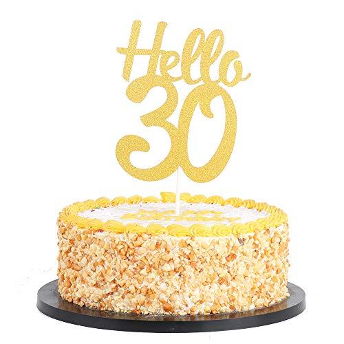 Hello 30Tortenaufsatz, Cheers zu 30years- Dirty Thirty Cake Topper, Jahrestag, Geburtstag Dekoration 30th ()