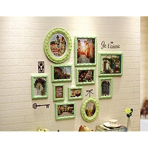 LY&HYL Città francese foto parete soggiorno camera da letto divano sfondo muro foto parete combinazione creativa Foto Frame parete , green