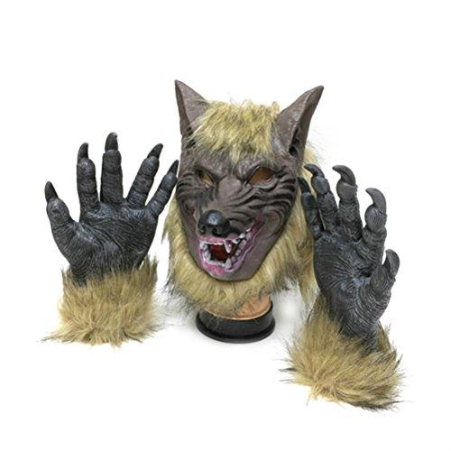 Tinksky Maske Halloween Latex-Wolf-Kopf und Krallen für der Anzug Kostüm