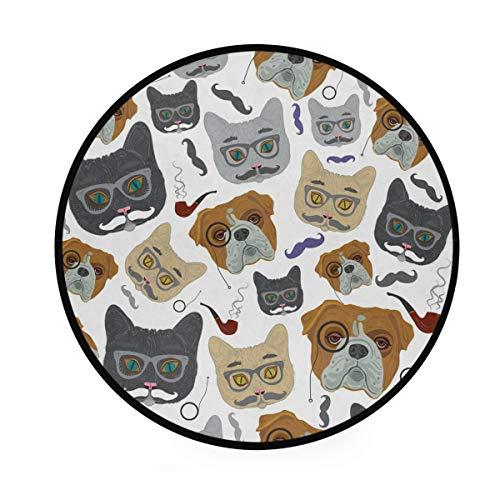 MALPLENA Malplee kenntbarer Hund mit rundem Brille Muster, runder Teppich, rutschfeste Fußmatte für Wohnzimmer, Schlafzimmer