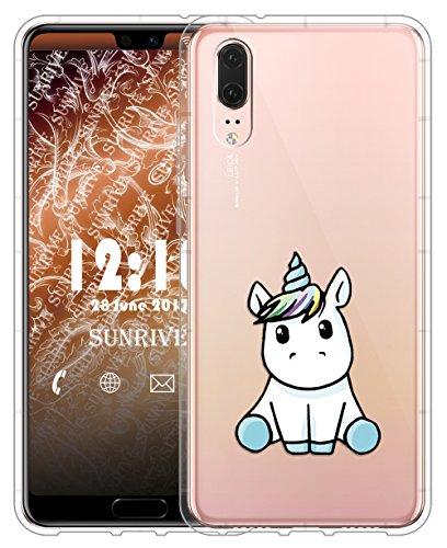 Sunrive Für Huawei P20 Hülle Silikon, Transparent Handyhülle Luftkissen Schutzhülle Etui Case für Huawei P20 5,8 Zoll(tpu Einhorn 3)+Gratis Universal Eingabestift