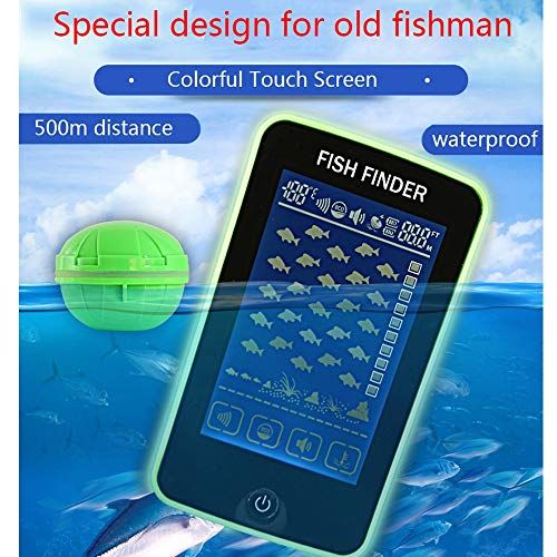 FISH MAN Fishing Detector, Portable Ultrasonic Sensor Wireless Wide Angle Detection 105°, Test Water Depth 55yd, Finder, Aspirator Hd Color Touch Screen,Green