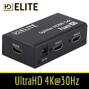 HDElite - Splitter HDMI 2 ports 1.4 - repartiteur - 1 source HDMI vers 2 ECRANS - FULL HD 1080p - Haute Qualité 3D