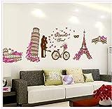 PLLP Romantischer Eiffelturm Fernsehhintergrund Kreativ, Wohnzimmer, Sofa, Wandaufkleber-Wandaufkleber,Farbe,60x90cm