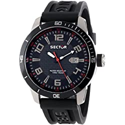 Sector Men's Quartz Watch with Black Dial Analogue Display and Black PU Strap R3251575002