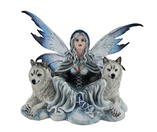 Saphir Fairy der Schnee Hohl sitzend W/Weiß Winter Wölfe Statue 12in. (Flügel Pixie White)