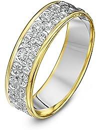Theia Unisex 9 ct White and Yellow Gold Heavy Flat Diamond Cut Wedding Ring