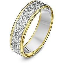 Theia Anillo de Bodas de Dos Colores Oro Amarillo y Blanco de 9k Pesado Corte Diamante