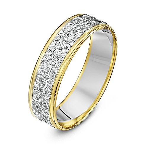 Theia Unisex 9 ct White and Yellow Gold Heavy Flat Diamond Cut 6 mm Wedding Ring, Size Y