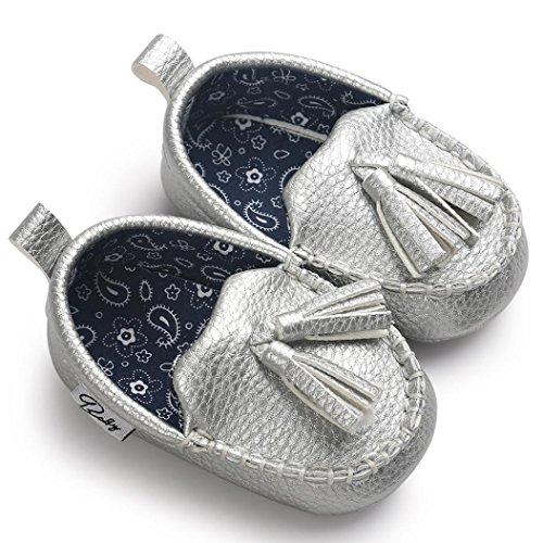 Ouneed® Krabbelschuhe , Baby Mädchen Jungen weiche alleinige lederne Schuhe weiche untere Schuhe flache Schuhe Silber