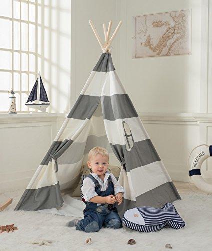 Preisvergleich Produktbild Decestar Kinder Tipi Play Tent Graue Indianerzelt Spielzelt Tipi Zelt für Kinder, Natürliches Segeltuch Teepee Play Zelt
