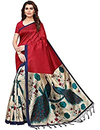 ANNI DESIGNER Silk with Blouse Piece Saree (Kedarnath Red_ Free Size)