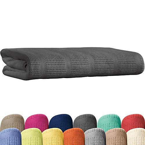 Erwin Müller Sommerdecke, Baumwolldecke - 100% Baumwolle grau Größe 130x160 cm - atmungsaktiv, weiche Qualität, luftig leicht, hautfreundlich - (weitere Farben, Größen)