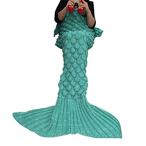 Meerjungfrau Decke, AM Seablue Handgemachte häkeln meerjungfrau flosse decke für Erwachsene, Mermaid Blanket alle Jahreszeiten Schlafsack Für Erwachsene (Green)