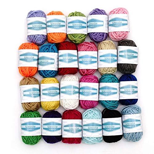 Wextile Acryl-Garn Strick- und Häkel-Garn in 24 Bonbon-Farben mit 7 eBooks - insgesamt 480 Meter Handarbeits-Garn perfekte Knäuel für Mini-Projekte zum Stricken und Häkeln -