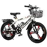 Llq2019 - Bicicletas Deportivas para niños de 18 Pulgadas, 6 a 12 años de Edad, carritos de montaña, Bicicletas de equitación al Aire Libre, niños, Color Blanco, tamaño 18in
