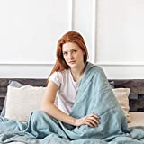 Coperta ponderata in lino di qualità pesante per alleviare lo stress e aiutare il sonno (150 x 195 cm, 9 kg, blu acqua)