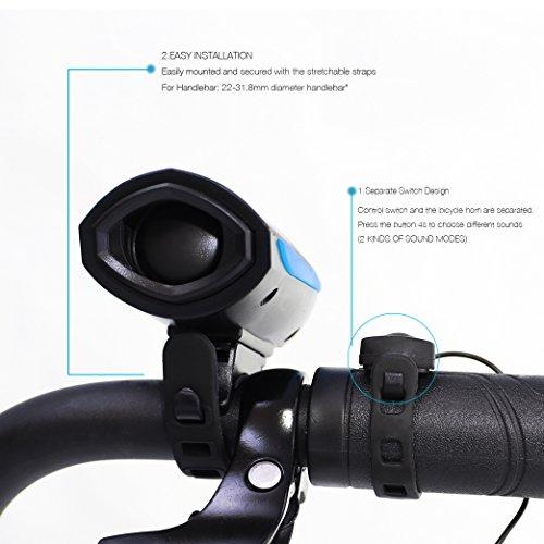 Agapo Fahrradhorn Fahrradhupe Fahrradklingel mit 2 Tönen bis zu 140 dB Wiederaufladbare USB Kabel - 3