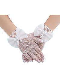 Qingsun 4-14 Ans Filles Fleur Résille Gants de Mariage, Élasticité Gloves  de Anniversaire ce6ec75e7f1