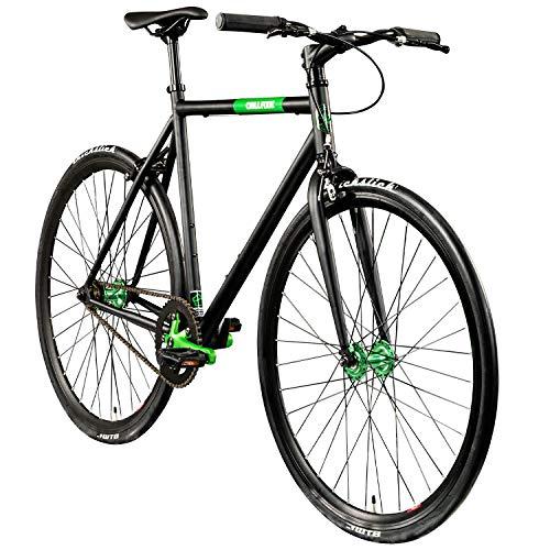 "Chill Singlespeed 700c Fixie Bike Retro Fahrrad Fitnessbike Fixie 28\"" Rennrad (schwarz/grün, 56 cm)"