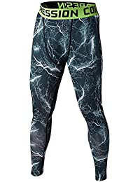 Vertvie Men's Sports Compession Pants Tight Camouflage Leggings Baselayer Tight Running Workout Trousers (XL, White)