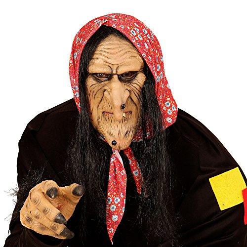 Widmann 00382 - Halbmaske Hexe mit Haar für - Böse Alte Dame Kostüm