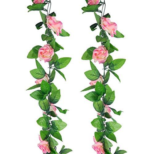 Sleipmon Rosenkranz, künstliche Rosen, ca. 9 m, für Zuhause, Hotel, Büro, Hochzeit, Party, Garten, Basteln, Kunst-Dekoration, Champagnerrosa