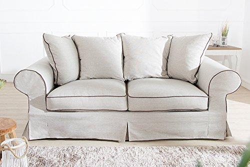 Elegantes Hussen 2er Sofa RIVIERA 210cm beige inkl. Kissen Couch Zweisitzer - 4